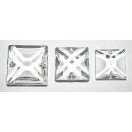 3x Vierkante kroonluchter glaskralen, 20x20 mm.