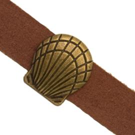 3 x Metalen schuifkraal voor leer Schelp Antiek Brons 10×2 mm