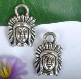 10x Tibetaans zilveren bedeltje van een Indiaan 16x10mm