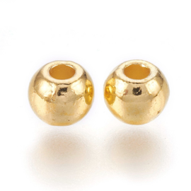 """10  stuks DQ """"gouden"""" kraaltjes, metaal nikkelvrij 6mm gat 2,5mm"""