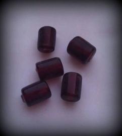 10 Stuks Glaskraal India tonnetje transparant donker rood/paars 10 mm