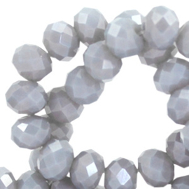 10 stuks Top Facet kralen 8x6 mm disc Light cool grey-pearl shine coating