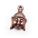 2 x  Tibetaans zilveren hanger buddha hoofd 18x12mm rood koper