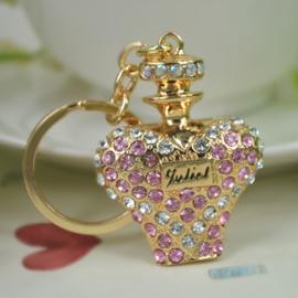 Prachtige sleutelhanger met kristal strass in de vorm van een parfum fles. Lengte 10 cm x 4cm