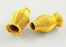 10 stuks mooie spiraal kralen 16 x 9 x 3mm goudkleur