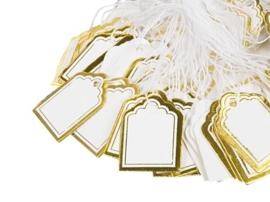 Bosje met c.a. 100 stuks prijs labels prijskaartjes met gouden randje 23x18mm