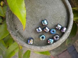 10 stuks mooie glaskralen met AB glans 8mm