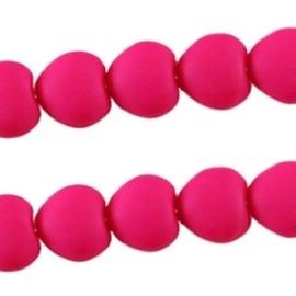 10 stuks Acryl kralen hart 10mm fuchsia red