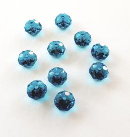 10 x Briolette kraal 10 x 8mm gat 1,5mm azuur blauw