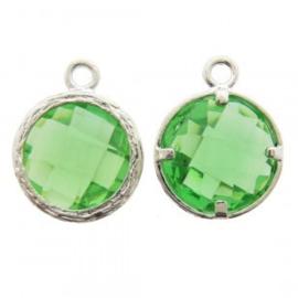 Bedel metaal cubic zirconia facet groen 13x17mm zilverkleur