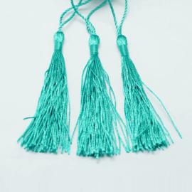 Turquoise satijn kwast lengte kwast 9 cm incl. lus 12cm *