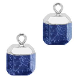 1 x Natuursteen hangers square Dark blue-silver Lapis Lazuli