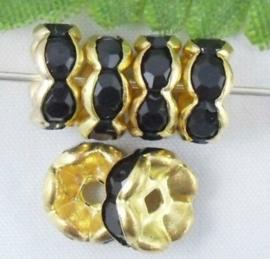 50 stuks vergulde Kristal Rondellen 8 mm zwart