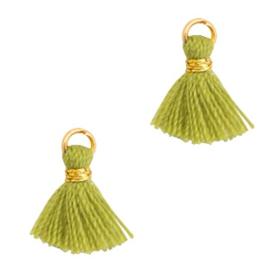 3 x  Kwastjes 1cm Goud-Cedar green