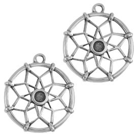 DQ metalen bedels dreamcatcher ca. 21 x 18mm  (voor Swarovski SS16 flatback) antiek zilver kleur
