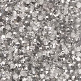 30  x ronde Tsjechië facet kristal kraal afm: 3mm Kleur: zilver gat c.a.: 1mm