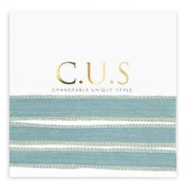 1 x C.U.S sieraden lint Shimmery mosaic blue ca. 70x1.2cm