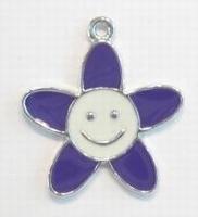Per stuk Zilverkleurig metalen bloem met paars/witte epoxy 28 mm