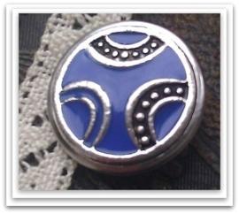 Per stuk Mooie Metalen antiek zilveren drukker bewerkt met blauw/paarse epoxy 18 mm
