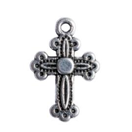 10 x metalen bedel kruisje zilver kleur 20 x 13 mm oogje: 1,5mm