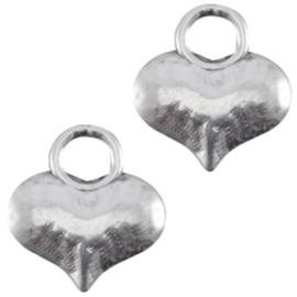 10x Bedels DQ hart Antiek zilver (nikkelvrij)  ca. 10 x 9 mm
