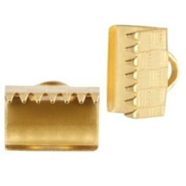 5 x DQ metaal lintklem 10mm Goudkleur