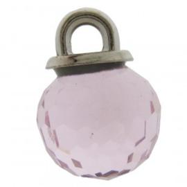 Bedel metaal glas facet roze 10x14mm