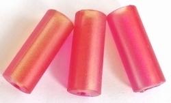 Per stuk Kunststof kraal rond langwerpig mat roze/oranje 24 mm