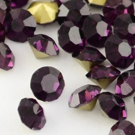 15 strass punt steentjes clear  SS16 4mm Back Plated, Diamond, Amethyst