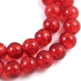 30 stuks crackle glas kralen 8mm rood/oranje