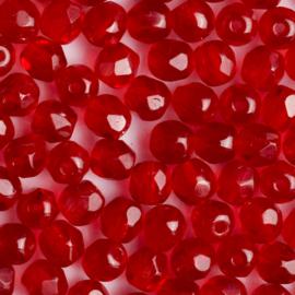 15 x  ronde Tsjechië kristal facet kraal 5mm kleur: rood Gat c.a.: 1mm