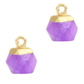 1 x  Natuursteen hangers hexagon Purple-gold Amethyst