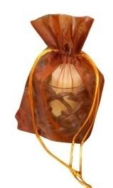 50 stuks zeer grote luxe organza kado zakjes met satijn koordje Bruin - Sienna 28 x 20 x 4 cm