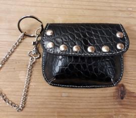 1x leuk tasje/portomonnee zwart 10 x 8cm Cathy van Zeeland