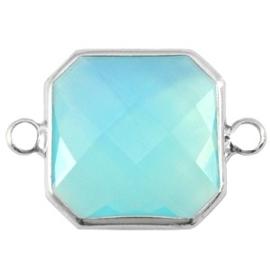 Crystal glas tussenstukken vierkant 16x16mm Aqua blue opal-Silver