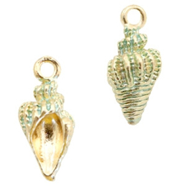 2 x Metalen bedels shell Gold-turquoise green