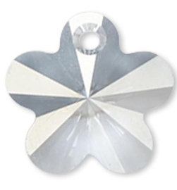 Swarovski kristal  facet Hanger bloem 13 x 13x 8mm gat 1mm clear