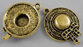 4 x tibetaans zilveren bedeltje (goudkleur) van een hoedje 26 x 19 x 5mm Gat: 2mm