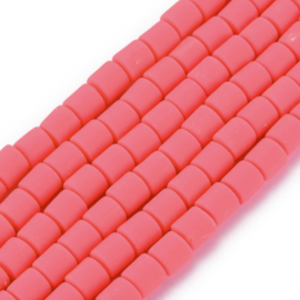 40 x handgemaakte polymeer klei kralen deep pink 6,5 x 6mm gat: 1,2mm