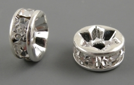 50 stuks Verzilverde Kristal Rondellen 12 x 4mm blank gat: 2,5mm