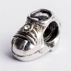 Be Charmed kraal zilver met een rhodium laag (nikkelvrij) c.a.13x 6mm groot gat: 4mm