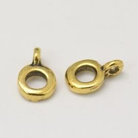 10 x tibetaans zilveren bails hanger 6,5 x 2mm, Ø 2mm, het oogje is: 1mm Antiek Goudkleur