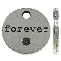 10x Tibetaans zilveren bedeltje Forever  17x2mm, Gat: ca 2.5mm