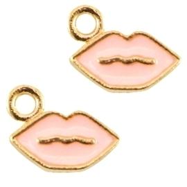 5 x DQ Metalen bedel lips Goud-roze ca. 9x5mm