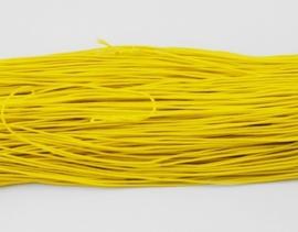 8 meter rond elastisch koord van rubber voorzien van een laagje stof 1mm geel