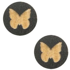1 x Houten cabochon vlinder 12mm Black