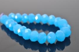 Streng met c.a. 100 stuks electroplated briolette kristal kraal 6 x 4mm gat 1mm imitatie Opal blauw