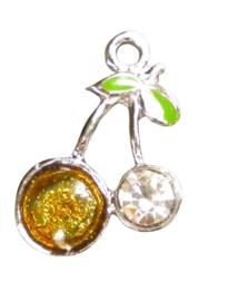 2x Tibetaans zilveren bedel van een kers met een grote strass steen, 27x19mm