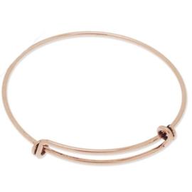 Super leuke verstelbare basis armband om bedels aan te hangen diameter c.a. 55mm totale lengte c.a 18cm rose gold