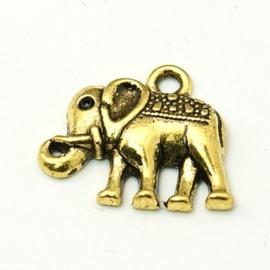 4 x Tibetaans zilveren bedel van een olifant  17 x 13 x 3mm gat: 2mm goudkleur